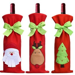Cloth tie bags online shopping - 2018 Wine Bottle Cover with Bowknot Tie Bags for Bottles Christmas Decoration Kids Gift Merry Christmas Bar Tools Beer Santa Claus Printed