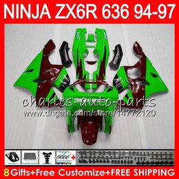 China 8Gifts 23Colors For KAWASAKI NINJA ZX6R 94 95 96 97 600CC ZX-6R 33NO63 ZX636 ZX green red 636 ZX 6R ZX600 1994 1995 1996 1997 Fairing kit cheap fairing for kawasaki red ninja zx6r suppliers