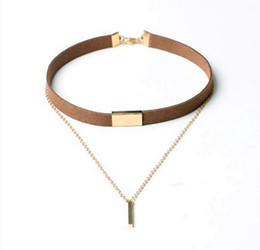 $enCountryForm.capitalKeyWord Australia - New European and American alloy pendants leather leather necklace black brown cashmere metal fashion clavicle chain