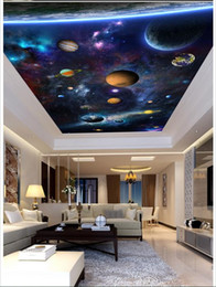 Space beautiful online shopping - High Quality Custom d ceiling wallpaper murals Dazzle beautiful space planet sitting room hall bedroom ceiling frescoes wall