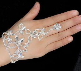 Wholesale Glitter Elegant Crystal Finger Ring Bracelet Hand Harness Bangle Arm Chain Wedding Bridal Jewelry