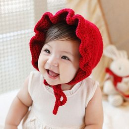 thanksgiving beanie babies 2018 - Baby Girl Hats Fashion Ruffled Windproof Kids Caps Red Knitted Children's Hats For Autumn Winter Beanies discount t