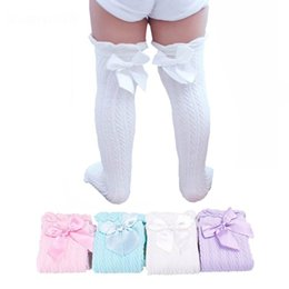 Barato Crianças Legging Bonito-Baby Girls Knee High Socks Crianças Crianças Cute Lace Bows Princesa perna Warmers Solid Cotton Girl Long Tube White Socks