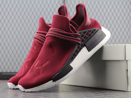 Discount boxes online shopping - Pharrell Williams friends and family Human Race Purple hu runner shoes Hot Selling Discount Running Shoes With Box