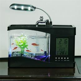 $enCountryForm.capitalKeyWord NZ - Mini USB Aquarium with LCD Display Desktop Fish Tank LED Clock Table Lamp Fish Tank Aquarium LED Clock White black