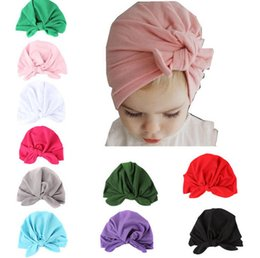 19e7694de55 Ins Baby Bow Hat Bunny Ear Caps Europe Style Turban Knot Headwrap Hats Girls  Infant India Hats Kids Autumn Winter Beanie