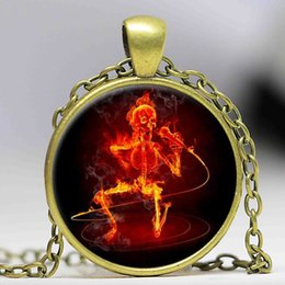 Art Easter Canada - Ghost Rider burning skull crystal pendant necklace vintage bronze art movie Photo Glass Dome gothic jewelry necklace Easter gift