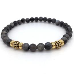 $enCountryForm.capitalKeyWord Canada - NAIQUBE 2017 New Men Or Women Pave CZ Ball Nature Stone Beads Fashion Charm Bracelets For Jewelry Gift