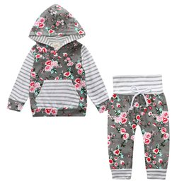 Barato Flores Longas Leggings-INS New Newborn Clothes Baby Girls Algodão Hooded Tops Long Sleeve T-shirt Hoodie Calças Leggings Flores 2PCS Set Children Kids Clothing 447