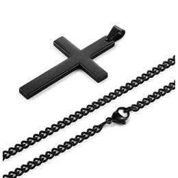 $enCountryForm.capitalKeyWord Canada - 316L Stainless Steel Jesuss Cross Pendants Necklace Statement Jewelry 60CM Cuban Link Chain Necklace