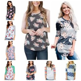 Barato Mulher Blusa Listra-T-Shirts Moda Floral Tops Mulheres Stripe Print Shirts 3/4 Sleeve Blusa Casual Sexy Slim Blusas Flores Camo Tees Roupa Feminina B3077