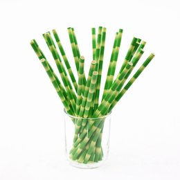 Wholesale 50pcs Lot Paper Straws Bamboo Print Tiki Hawaiian Jungle Luau Colored Patterned Mason Jar Bulk Xmas