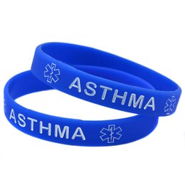medical alert wristbands Canada - 100PCS Lot Medical Alert! ASTHMA Awareness Silicone Wristband Carry This Message As A Reminder in Daily Lif By Wear This Bracelet