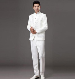 Collar Chinese Tunic Suit Canada - White 2017 embroidery stand collar slim men chinese tunic suit set with pants mens suits wedding groom dress suit + pant + tie