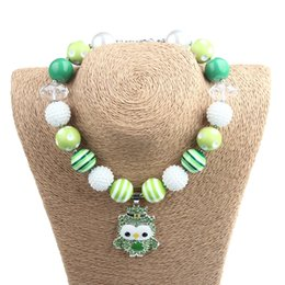 Bubblegum Charms NZ - St. Patrick's Day Baby Necklace Girl Lime Green beads with cartoon Owl Clover Pendant For Party Baby Bubblegum Rhinestone jewelry