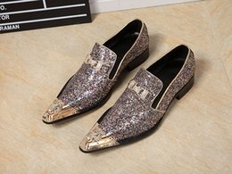glitter low heel wedding shoes Canada - Mixed Color Glitter Leather Oxford Shoes For Men Big Size Metal Pointed Toe Wedding Dress Shoes Men Crystal Bowtie Party Loafers