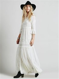 Fairy Style Dresses Canada - Women Embroidery Bohemian Long Fairy Dress