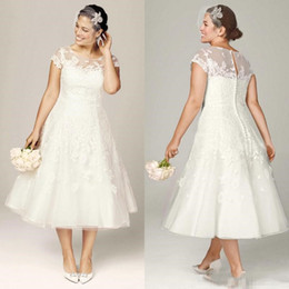 $enCountryForm.capitalKeyWord Canada - Modest 2017 A-Line Tea Length Plus Size Lace Applique Wedding Dresses Illusion Bodice Covered Buttons Custom Made Garden Jewel neck Bridal