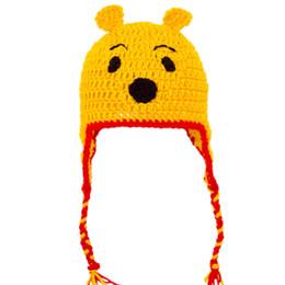 $enCountryForm.capitalKeyWord UK - Free Shipping Newborn Cartoon Bear Hat with Braids,Handmade Knit Crochet Very Cute Baby Girl Boy Animal Cap,Toddler Halloween Photo Prop