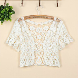 Wholesale Fashion Short Sleeve Cutout Cape Open Stitch Cardigan Hollow Out Crocheted Lace Summer Shrugs