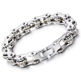 Movie Steel Canada - 21CM*12mm Fashion Women Mens 316L Stainless Steel Motorcycle Chain Bangle Biker Bicycle Fine White Zircon Crystal Bracelet Jewelry