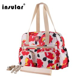 Chinese  Wholesale Insular Floral Printing Baby Diaper Bag Fashion Multifunctional Mommy Bag Women Tote Bag manufacturers