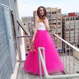 Jupe Rose Rose Tutu Pas Cher-Angleterre Style Hot Pink Puffy Tutu Jupes Longueur étage Longes Jupes Pour Pretty Lady Zipper Style Jupe Tulle Mode Pour Femmes