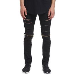 $enCountryForm.capitalKeyWord UK - Wholesale- 2017 Men Zipper Knee Biker Skinny Jeans Fashion Casual Designer Brand Distressed Destroyed Hole Ripped Jeans