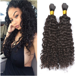 human indian bulk braiding hair Australia - Malaysian Human Hair Bulk 3Pcs lot Kinky Curly Hair Bulk For Braiding Natural Color No Attachment