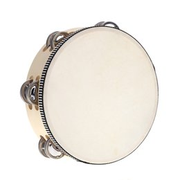 "drum percussion instrument 2018 - Wholesale-8"" Double Row Tambourine Drum Bell Birch Metal Jingles Bell Percussion Musical Educational Instrument for"