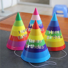 $enCountryForm.capitalKeyWord NZ - Cool 100pcs lot Party Universal Rainbow Triangle Caps Children Birthday Conical Hats Decoration Opp Bag Package Caps Hats