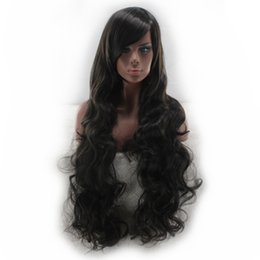 Chinese  WoodFestival oblique bangs long black wig curly synthetic hair wig for women heat resistant fiber wig can be dyed hair 80cm manufacturers