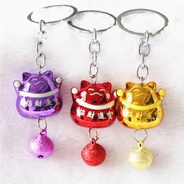 $enCountryForm.capitalKeyWord Canada - Festive Lucky Cat key buckle lovely color bell car bag pendant key ring