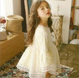 Robes Tutu Printemps Pas Cher-Spring Kids Girls Lace Floral Robes Baby Girl Princess Hallow Out Dress 2017 Girl Robe tutu coréenne Vêtements pour enfants