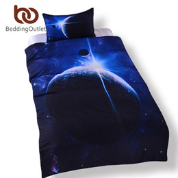 extra long beds Canada - Wholesale- BeddingOutlet Galaxy Bed Set Earth Moon Print Gorgeous Unique Design Quanlity Limited Outer Space Quilt Cover Set