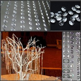 clear crystal beads curtain Canada - 2018 New Wedding Party Decoration Clear Acrylic Crystal Octagonal Bead Curtain Garland Strands DIY Craft Christmas Tree Hanging Ornament