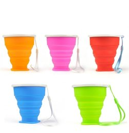 Foldable water bottle For outdoor online shopping - Portable Silicone Cup Colorful Foldable Tooth Mug With Rope Round Silica Gel Water Bottle For Outdoor Travel ww CB