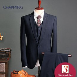 design three piece suit images Canada - Wedding suit for men high Dark blue Mens three piece suit High quality fabric of the man suit design Mens business suits fashion