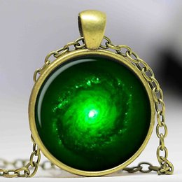$enCountryForm.capitalKeyWord Canada - Hot Selling OUTER SPACE JEWELRY Nebula necklace Black & Green Galaxy universe pendant Glass Cabochon Necklace A1095