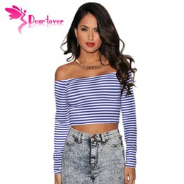 Ladies White Sexy Long Tops Pas Cher-Long Sleeve Sexy Royal-Blue White Stripes Off-the-shoulder Mini Cropped Top LC25161 ladies sexy tops Femmes T-Shirts 17410