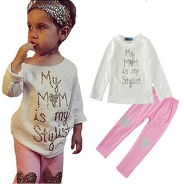 Branded Baby Kids Clothes Australia - cute toddler girl clothing sets autumn letter t shirt+heart pants 2pcs kids baby girl clothes 2017 new brand girls clothing set