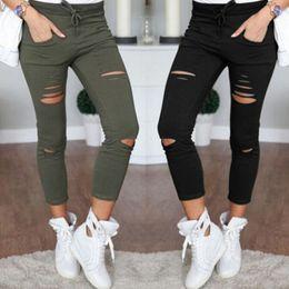 $enCountryForm.capitalKeyWord Canada - Spring Autumn Pants Women Denim Skinny Cut Pencil Pants High Waist Stretch Jeans Trousers Cotton Drawstring Slim Pants LM93
