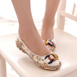 summer plus size cloths Canada - Plus Size Fashion Women Shoes Old Beijing Mary Jane Flats With Casual Shoes Chinese Style Embroidered Cloth shoes woman bow shoe