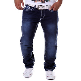 Discount hipsters jeans - Wholesale- Street Hipster Men Jeans Blue Jogger Straight Long Cotton Denim Jeans Botton Fly Casual Fitness Hip Pop Brand