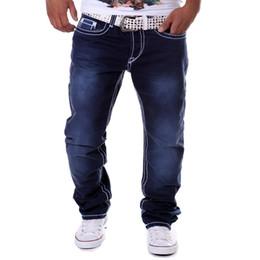 Discount brands blue jeans - Wholesale- Street Hipster Men Jeans Blue Jogger Straight Long Cotton Denim Jeans Botton Fly Casual Fitness Hip Pop Brand