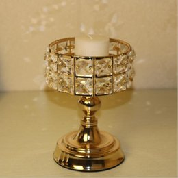 wholesale crystal candle stand Canada - Exquisite Crystals Candle Holder Metal Golden Candelabra Classic Wedding Centerpiece Home Decoration Candlesticks 1 Lot = 2 pcs