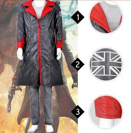 Barato Traje De Diabo De Couro-Leather Coat Cosplay Devil May Cry 5 Trajes de Cosplay Dante Trajes de Cosplay de Halloween