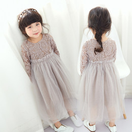 Style Enfant Pas Cher-Coréen Baby Girls vêtements dentelle Flower Princess Robes Tulle Robe Enfant Mode Toddler Robe Enfants Pageant Formal Partie Vêtements A263
