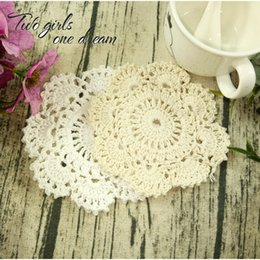 diy cotton lace NZ - Vintage DIY Handmade 12cm Round Table Mat Crochet Coaster Coffee Doilies Cup Pad Cotton Mat Hand Crocheted Lace Accessory 30pcs lot