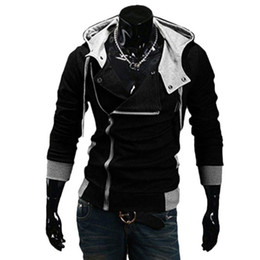 Wholesale- 2016 Fashion Hoodies Sweatshirt Zipper Cardigan Anzug Lässige Kapuzenjacke moleton Assassins Creed Fleece dünner Mantel